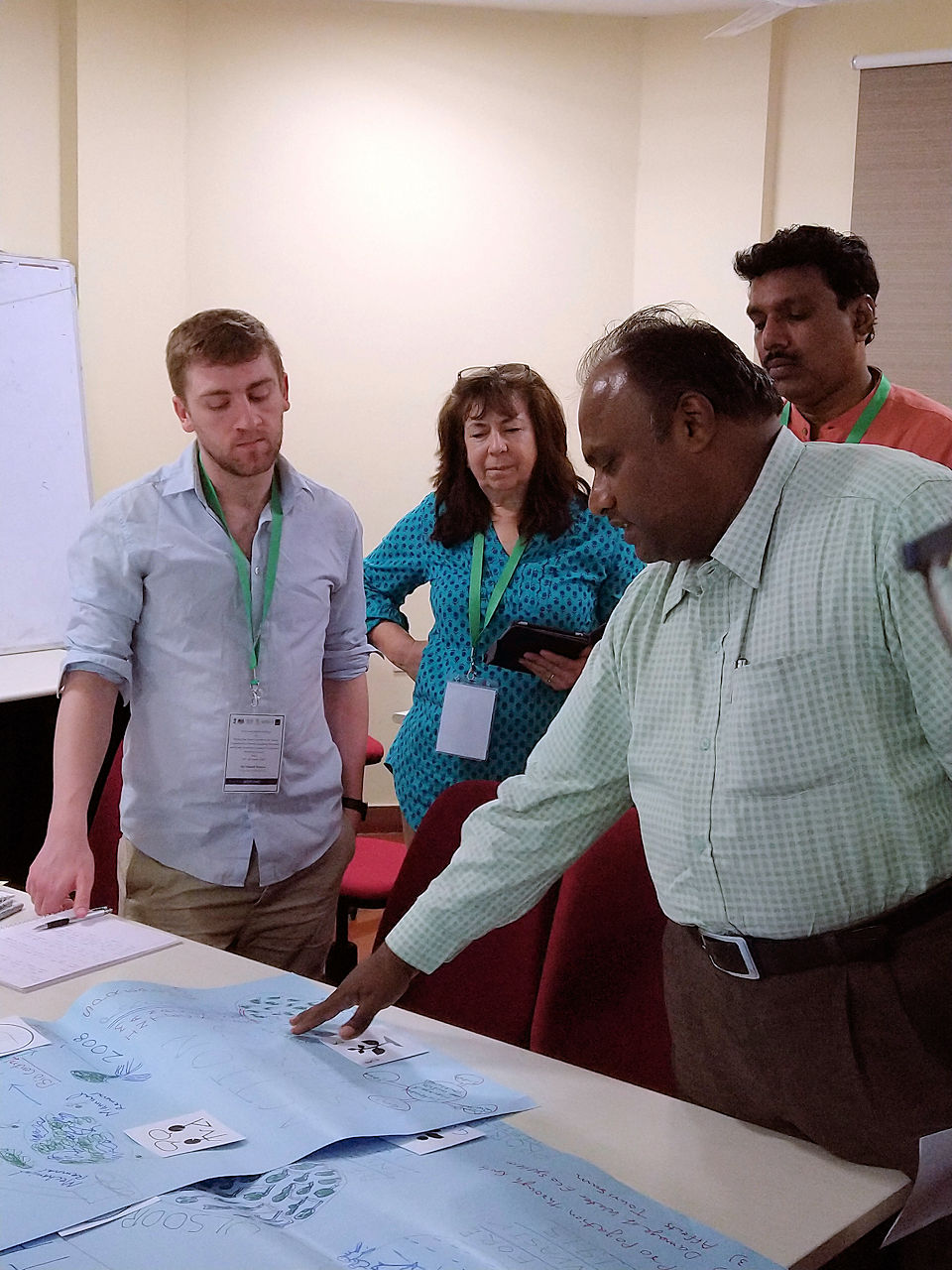 Vincent in discussions with Indian colleagues