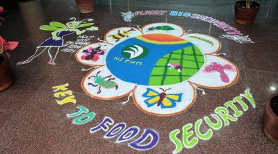 Plant Health mural on floor in Hyderabad